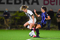 forward Renate Ly Mehevets of Sporting Charleroi pictured with Brugge's Saar Verdonck  during a female soccer game between Sporting Charleroi and Club Brugge YLA on the fourth matchday of the 2020 - 2021 season of Belgian Scooore Womens Super League , friday 9 nd of October 2020  in Marcinelle , Belgium . PHOTO SPORTPIX.BE | SPP | DAVID CATRY