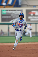 St. Lucie Mets Luis Carpio (12) running the bases during a Florida State League game against the Lakeland Flying Tigers on April 24, 2019 at Publix Field at Joker Marchant Stadium in Lakeland, Florida.  Lakeland defeated St. Lucie 10-4.  (Mike Janes/Four Seam Images)