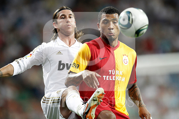 Real Madrid's Sergio Ramos and Galatasaray's Kazim-Richards  during Santiago Bernabeu Cup on August 24th 2011. ..Photo: Cesar Cebolla / ALFAQUI