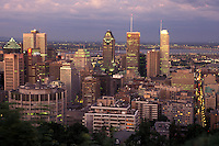 AJ0804, Canada, Quebec, Montreal, Aerial of the downtown skyline of Montreal from Mount Royal illuminated in the evening.