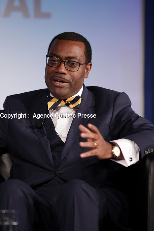 Akinwumi A. Adesina, President, African <br /> Development Bank Group (ADB),<br /> attend the the 22nd edition of the Conference of Montreal, held June 13 to 15, 2016<br /> <br /> PHOTO : Pierre Roussel -  Agence Quebec Presse
