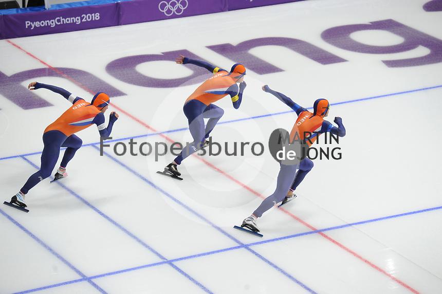 OLYMPIC GAMES: PYEONGCHANG: 18-02-2018, Gangneung Oval, Long Track, Team Pursuit Men, Team Netherlands, Jan Blokhuijsen, Sven Kramer, Koen Verweij, ©photo Martin de Jong