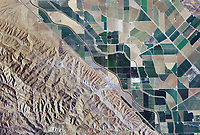 aerial view above interstate 5 California aqueduct western Stanislaus county central valley California