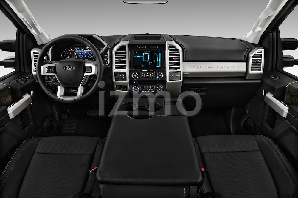 Stock photo of straight dashboard view of 2017 Ford F-250 Lariat-Crew-Cab 4 Door Pickup Dashboard