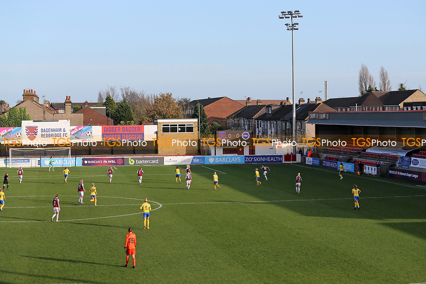 General view of the action behind closed doors during West Ham United Women vs Brighton & Hove Albion Women, Barclays FA Women's Super League Football at the Chigwell Construction Stadium on 15th November 2020