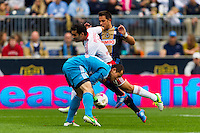New York Red Bulls goalkeeper Luis Robles (31) collides with teammate  Rafa Marquez (4) and Danny Cruz (44) of the Philadelphia Union. The New York Red Bulls defeated the Philadelphia Union 3-0 during a Major League Soccer (MLS) match at PPL Park in Chester, PA, on October 27, 2012.
