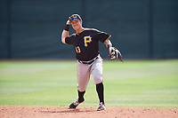 Pittsburgh Pirates second baseman Logan Ratledge (43) throws to first base during a minor league Spring Training game against the Philadelphia Phillies on March 24, 2017 at Carpenter Complex in Clearwater, Florida.  (Mike Janes/Four Seam Images)