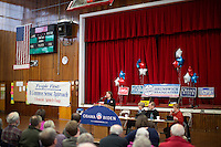 Shenna Bellows, Democratic candidate in Maine for US Senate, speaks to the Brunswick Democratic Town Committee town caucus in Brunswick, Maine, USA, on March 3, 2014. Bellows is trying to unseat incumbent Maine Republican Senator Susan Collins in the 2014 election. The town caucus had speeches from various other local candidates and also served to choose delegates for the 2014 Maine State Democratic Caucus.