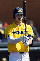 Michigan Wolverines catcher Harrison Wenson (7) at the plate against the Illinois Fighting Illini during the NCAA baseball game on April 8, 2017 at Ray Fisher Stadium in Ann Arbor, Michigan. Michigan defeated Illinois 7-0. (Andrew Woolley/Four Seam Images)