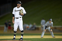 Wake Forest Demon Deacons relief pitcher Morgan McSweeney (35) looks to his catcher for the sign against the Davidson Wildcats at David F. Couch Ballpark on May 7, 2019 in  Winston-Salem, North Carolina. The Demon Deacons defeated the Wildcats 11-8. (Brian Westerholt/Four Seam Images)
