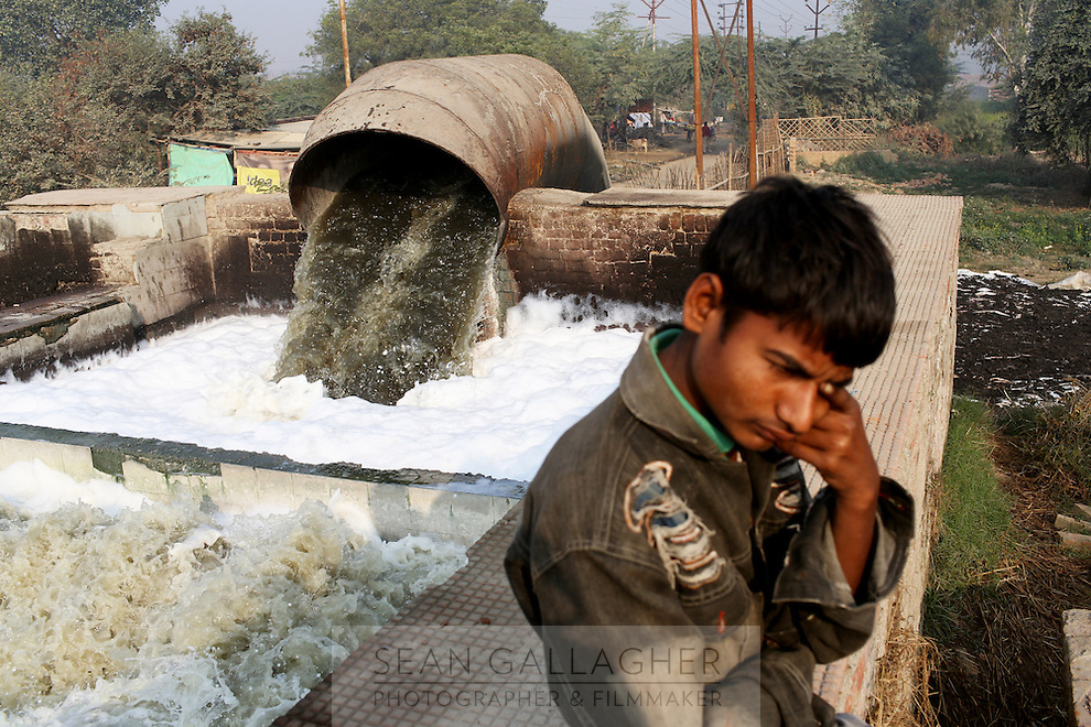 Waste water from tanneries is channeled onto nearby farmland in the Indian city of Kanpur. The city is notorious for having some of the country's worst water pollution which is created by the local leathery tannery industry. Waste water laced with toxins, such as chromium, is discharged in local waterways and agricultural land which is used many residents who live in the nearby area. An array of health problems now afflict locals who have worked in the tanneries, or use the local water. Health effects have included cancers, mental health problems, child development issues and skin diseases.