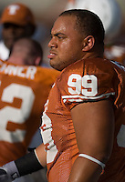 30 September 2006: Texas defensive tackle Roy Miller warms up prior to the Longhorns 56-3 victory over the Sam Houston State Bearkats at Darrell K Royal Memorial Stadium in Austin, TX.