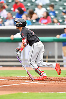 Birmingham Barons shortstop Laz Rivera (5) swings at a pitch during a game against the Tennessee Smokies at Smokies Stadium on May 15, 2019 in Kodak, Tennessee. The Smokies defeated the Barons 7-3. (Tony Farlow/Four Seam Images)