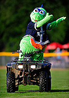 18 June 2010: Vermont Lake Monsters Mascot Champ entertains fans prior to a game against the Lowell Spinners at Centennial Field in Burlington, Vermont. The Lake Monsters defeated the Spinners 9-4 in the NY Penn League season home opener. Mandatory Credit: Ed Wolfstein Photo