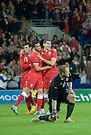 Sam Vokes celebrates his second half goal during the Wales v Norway Vauxhall international friendly match at the Cardiff City Stadium in South Wales..Editorial use only.