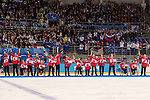 Sochi, RUSSIA - Mar 15 2014 - Team Canada receives their Bronze medal in Sledge Hockey at the 2014 Paralympic Winter Games in Sochi, Russia.  (Photo: Matthew Murnaghan/Canadian Paralympic Committee)