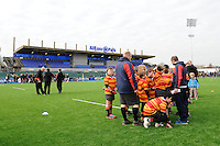 20130216 Copyright onEdition 2013©.Free for editorial use image, please credit: onEdition..Young rugby players from the local community test out the artificial pitch before the Premiership Rugby match between Saracens and Exeter Chiefs at Allianz Park on Saturday 16th February 2013 (Photo by Rob Munro)..For press contacts contact: Sam Feasey at brandRapport on M: +44 (0)7717 757114 E: SFeasey@brand-rapport.com..If you require a higher resolution image or you have any other onEdition photographic enquiries, please contact onEdition on 0845 900 2 900 or email info@onEdition.com.This image is copyright onEdition 2013©..This image has been supplied by onEdition and must be credited onEdition. The author is asserting his full Moral rights in relation to the publication of this image. Rights for onward transmission of any image or file is not granted or implied. Changing or deleting Copyright information is illegal as specified in the Copyright, Design and Patents Act 1988. If you are in any way unsure of your right to publish this image please contact onEdition on 0845 900 2 900 or email info@onEdition.com