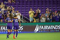 Orlando, FL - Tuesday August 08, 2017: Alex Morgan, Marta Vieira Da Silva during a regular season National Women's Soccer League (NWSL) match between the Orlando Pride and the Chicago Red Stars at Orlando City Stadium.