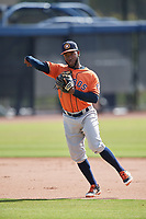 Houston Astros Marcos Almonte (44) during practice before a Minor League Spring Training Intrasquad game on March 28, 2018 at FITTEAM Ballpark of the Palm Beaches in West Palm Beach, Florida.  (Mike Janes/Four Seam Images)