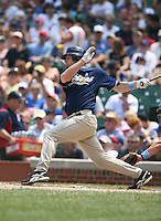 Chase Headley of the San Diego Padres gets his first major league hit vs. the Chicago Cubs: June 18th, 2007 at Wrigley Field in Chicago, IL.  Photo By Mike Janes/Four Seam Images