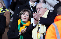 Barclays Premier League, Swansea City (White) V Norwich City (black) Liberty Stadium, Swansea, 08/12/12<br /> Pictured: Delia Smith an avid Norwich fan watches the game from the stands.<br /> Picture by: Ben Wyeth / Athena <br /> Athena Picture Agency<br /> info@athena-pictures.com
