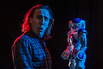 Artificial Intelligence researcher and Improvisation performer, Kory Mathewson and Blueberry the robot, on March 6, 2018.<br /> <br /> ©2018 John Ulan