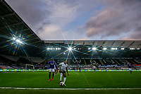 (EDITORS NOTE: A special effects camera filter was used for this image.)Korey Smith of Swansea City in action during the Sky Bet Championship match between Swansea City and Cardiff City at the Liberty Stadium in Swansea, Wales, UK. Saturday 20 March 2021