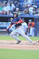 Greenville Drive Cam Cannon (4) runs to first base during a game against the Asheville Tourists on July 16, 2021 at McCormick Field in Asheville, NC. (Tony Farlow/Four Seam Images)