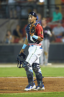 South Division catcher Jhonny Pereda (15) of the Myrtle Beach Pelicans on defense during the 2018 Carolina League All-Star Classic at Five County Stadium on June 19, 2018 in Zebulon, North Carolina. The South All-Stars defeated the North All-Stars 7-6.  (Brian Westerholt/Four Seam Images)