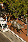 MAX Lightrail train at the Portland Transit Mall in Portland, OR.