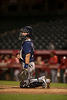 Milwaukee Brewers catcher Nick Franklin (2) during a Minor League Spring Training game against the Los Angeles Angels at Tempe Diablo Stadium on March 29, 2018 in Tempe, Arizona. (Zachary Lucy/Four Seam Images)