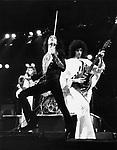 Queen 1975 John deacon, Freddie Mercury and Brian May..© Chris Walter..