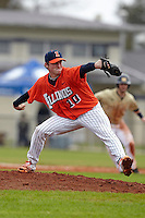 Illinois Fighting Illini pitcher Matt Milroy #10 delivers a pitch during a game against the Notre Dame Fighting Irish at the Big Ten/Big East Challenge at Walter Fuller Complex on February 17, 2012 in St. Petersburg, Florida.  (Mike Janes/Four Seam Images)