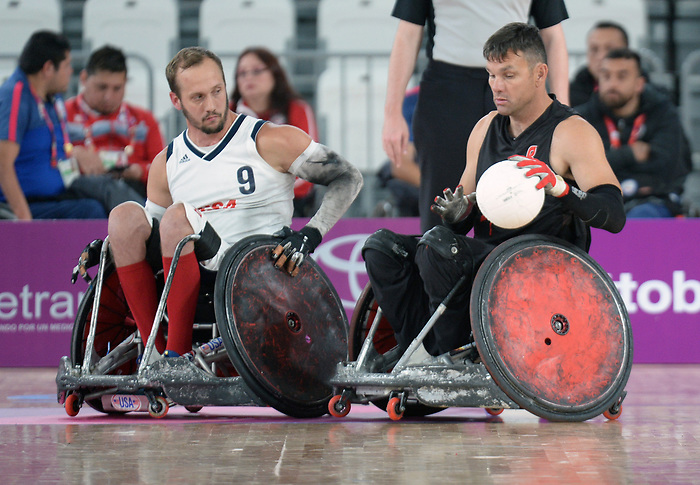 Mike Whitehead, Lima 2019 - Wheelchair Rugby // Rugby en fauteuil roulant.<br /> Canada takes on the USA in wheelchair rugby // Le Canada affronte les États-Unis au rugby en fauteuil roulant. 27/08/2019.