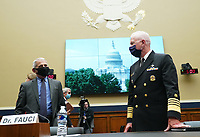 Dr. Anthony Fauci, Director (L), National Institute for Allergy and Infectious Diseases, National Institutes of Health talks to ADM Brett P. Giroir, Assistant Secretary for Health U.S. Department of Health and Human Services, prior to a  House Committee on Energy and Commerce hearing on the Trump Administration's Response to the COVID-19 Pandemic, on Capitol Hill in Washington, DC on Tuesday, June 23, 2020.<br /> Credit: Kevin Dietsch / Pool via CNP/AdMedia