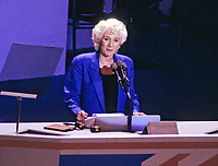 Oscar Award-winning actress Olympia Dukakis, makes remarks supporting her cousin, Governor Michael Dukakis (Democrat of Massachusetts), the 1988 Democratic Party nominee for President of the United States, at the 1988 Democratic National Convention in the Omni Coliseum in Atlanta, Georgia on July 21, 1988.<br /> Credit: Arnie Sachs / CNP / MediaPunch