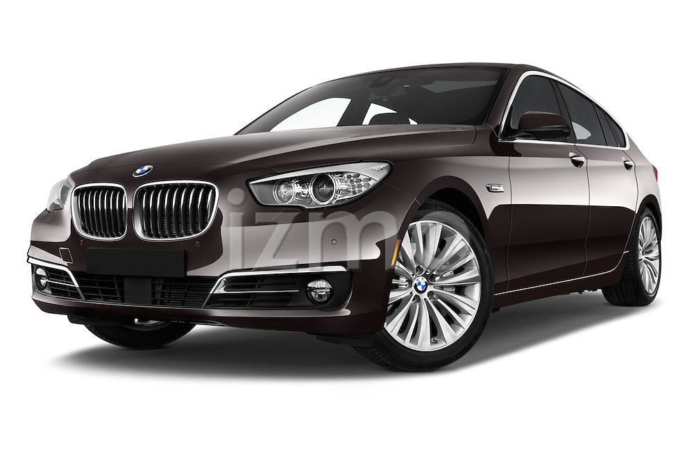Stock pictures of low aggressive front three quarter view of 2016 BMW 5 Series 535i Gran Turismo Luxury Line 5 Door Hatchback Low Aggressive