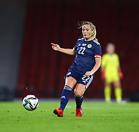 21st September 2021; Hampden Park, Glasgow, Scotland: FIFA Womens World Cup qualifying, Scotland versus Faroe Islands; Erin Cuthbert of Scotland on the ball