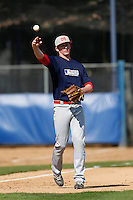 Ryan McMahon of Mater Dei High School in Santa Ana, California participates in the Southern California scouts game for high school seniors at the Urban Youth Academy on February 9, 2013 in Compton, California. (Larry Goren/Four Seam Images)