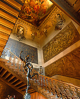 Paintings by Antonio Verrio and carvings by Samuel Watson decorate the Great Stairs at Chatsworth. The grisalle panels are painted to resemble sculpture