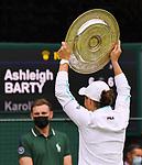 London Wimbledon Championships Day 12 10/07/2021<br /> Ashleigh Barty (AUS) wins Ladies Final against Karolina Pliskova (CZE)<br /> Roger Parker International Sports Fotos Ltd