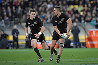 All Blacks' Anton Lienert-Brown and  Beauden Barrett in action during the All Blacks v Wallabies. The Rugby Championship & Bledisloe Cup at Westpac Stadium, Wellington, New Zealand on Saturday 27 August 2016.<br /> Photo by Masanori Udagawa. <br /> www.photowellington.photoshelter.com.