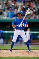 South Bend Cubs second baseman Yeiler Peguero (20) at bat during a game against the Kane County Cougars on May 3, 2017 at Four Winds Field in South Bend, Indiana.  South Bend defeated Kane County 6-2.  (Mike Janes/Four Seam Images)