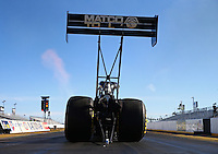 Feb 4, 2016; Chandler, AZ, USA; NHRA top fuel driver Antron Brown during pre season testing at Wild Horse Pass Motorsports Park. Mandatory Credit: Mark J. Rebilas-USA TODAY Sports
