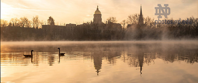 December 11, 2020; Geese on St. Joseph Lake (Photo by Matt Cashore/University of Notre Dame)
