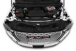 Car Stock 2021 GMC Yukon-XL Denali 5 Door SUV Engine  high angle detail view