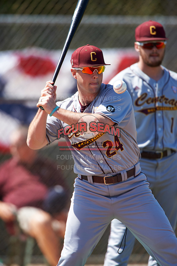Central Michigan Chippewas coach Doug Sanders (24) during practice before a game against the Boston College Eagles on March 3, 2017 at North Charlotte Regional Park in Port Charlotte, Florida.  Boston College defeated Central Michigan 5-4.  (Mike Janes/Four Seam Images)
