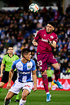 Guido Carrillo of CD Leganes and Ximo Navarro of Deportivo Alaves during La Liga match between CD Leganes and Deportivo Alaves at Butarque Stadium in Leganes, Spain. February 29, 2020. (ALTERPHOTOS/A. Perez Meca)