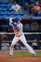 St. Lucie Mets designated hitter Ian Strom (10) at bat during the first game of a doubleheader against the Charlotte Stone Crabs on April 24, 2018 at First Data Field in Port St. Lucie, Florida.  St. Lucie defeated Charlotte 5-3.  (Mike Janes/Four Seam Images)