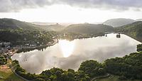 France, Puy de Dome, Volcans d'Auvergne Regional Natural Park, Chambon sur Lac, Lake Chambon (aerial view) // France, Puy-de-Dôme (63), Parc naturel régional des volcans d'Auvergne, Chambon-sur-Lac, lac de Chambon (vue aérienne)